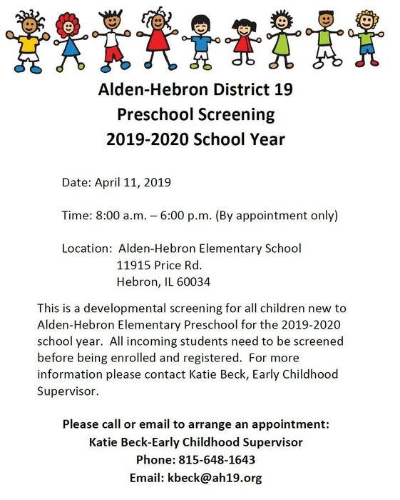 Pre-School Screening April 11th