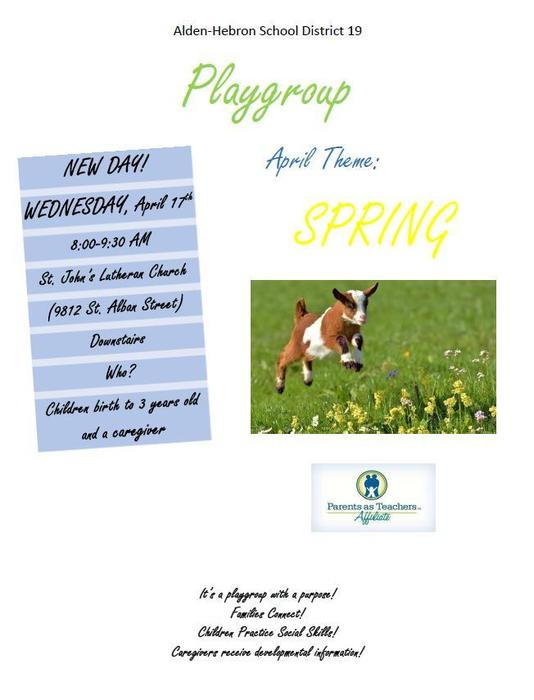 Playgroup on April 17th