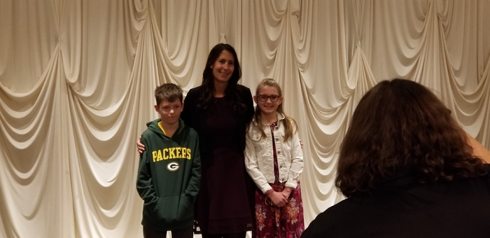 Holly Zabroski, Cody Jensen, and Mrs. Elswick elementary's school student leaders.