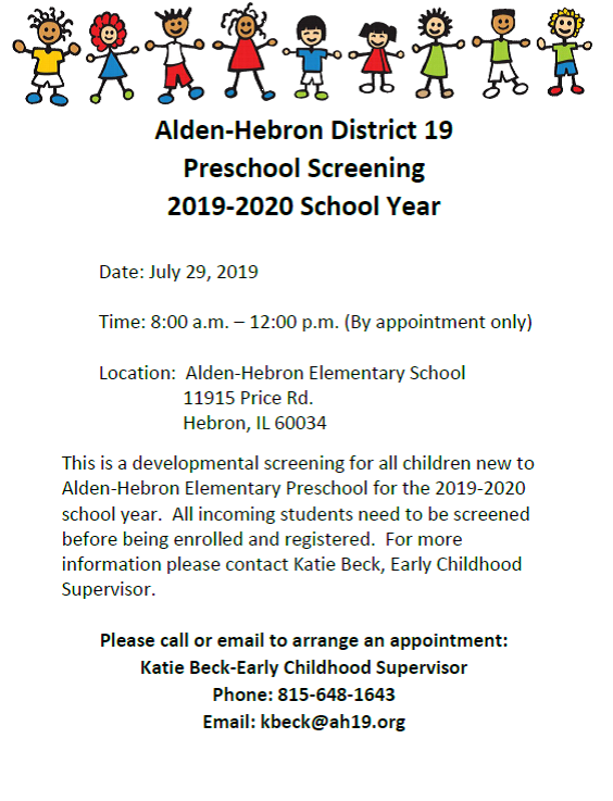 Preschool Screening 7/29/19